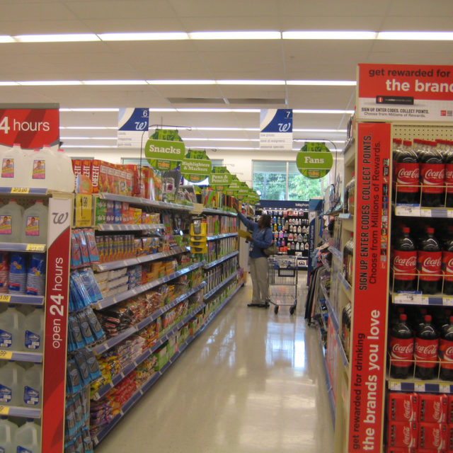 Aisle of a Walgreens drug store