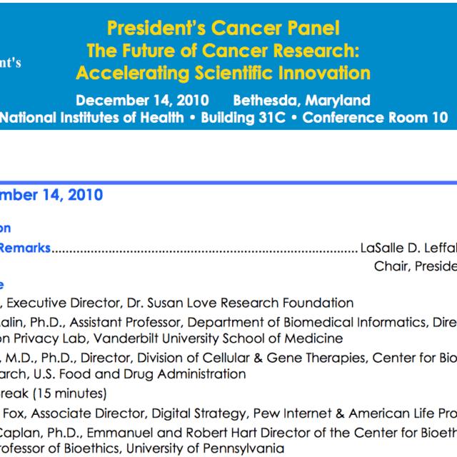 President's Cancer Panel Agenda for a meeting December 14 2010