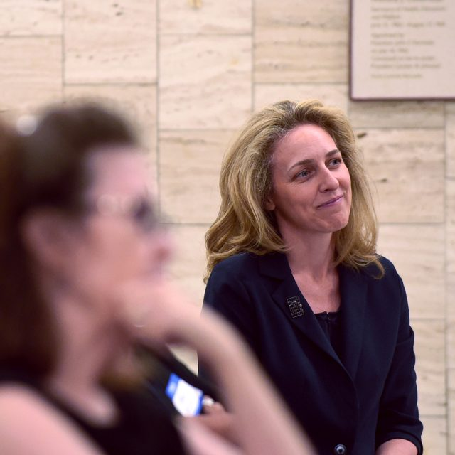 Susannah Fox in the audience at a public event at the U.S. Dept of Health and Human Services