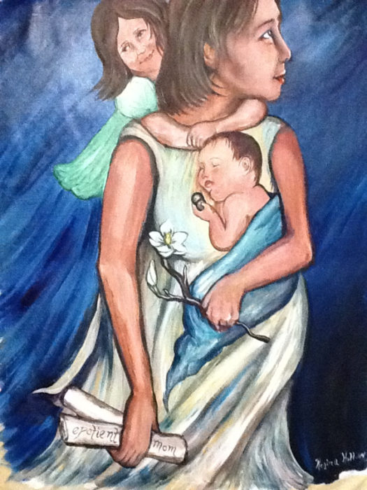 Painting of a woman and two children