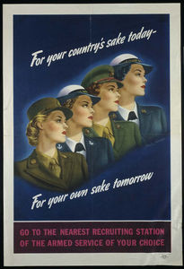 Vintage nurse recruitment poster: For your country's sake today. For your own sake tomorrow.