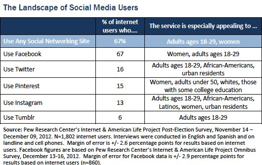 Demographics of Twitter, Facebook, Pinterest, Instagram, Tumblr