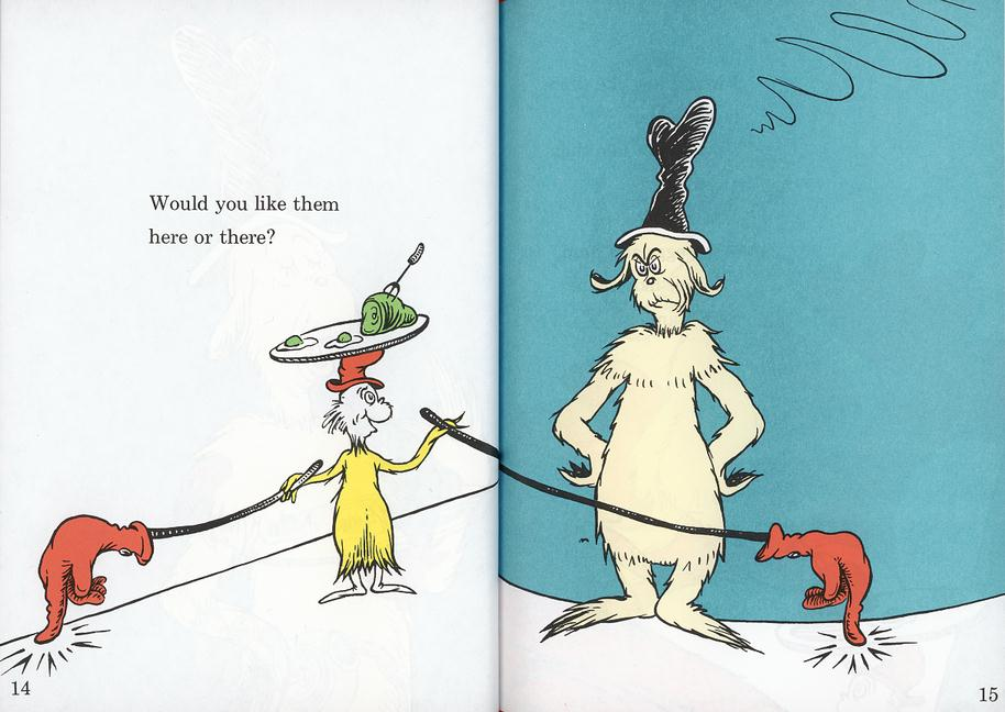 Do you like them here or there? A page from Green Eggs and Ham by Dr Seuss