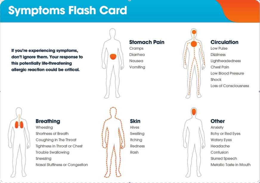 Auvi-Q Symptoms Flash Card