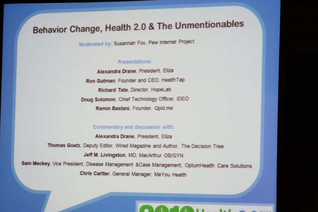 List of speakers for the 2010 Unmentionables panel at Health 2.0