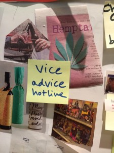 "Post-it with ""Vice advice hotline"" written on it"
