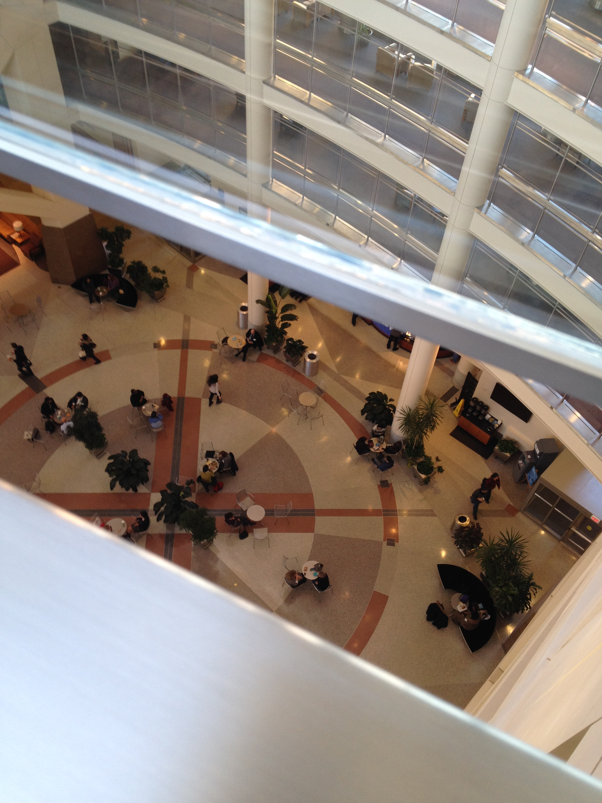 Looking down from the top of the NIH Clinical Center atrium