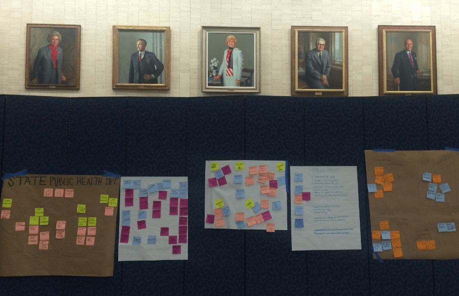 Portraits of past HHS secretaries above Post-its