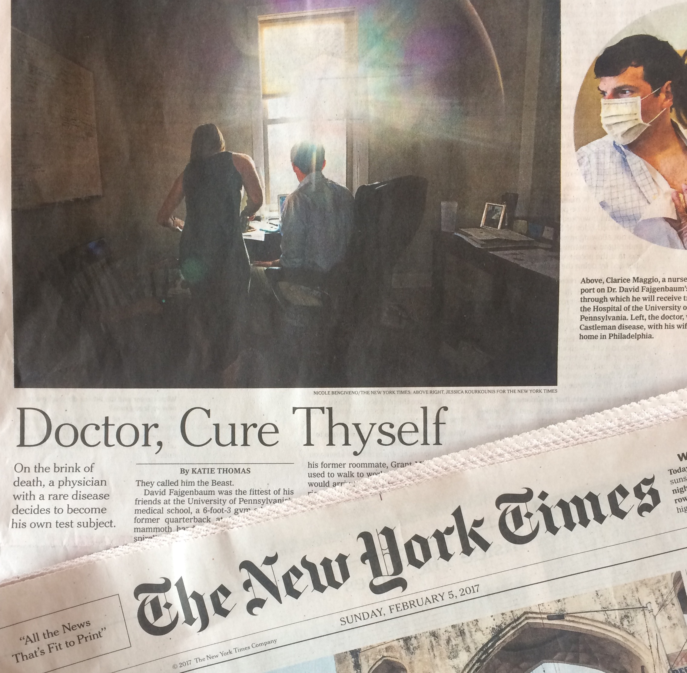 New York Times Sunday Business story on Feb. 5, 2017: Doctor, Cure Thyself