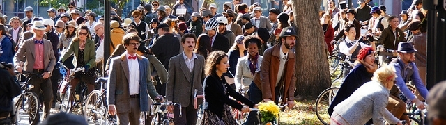 Formally dressed cyclists gather for a ride in Washington, DC