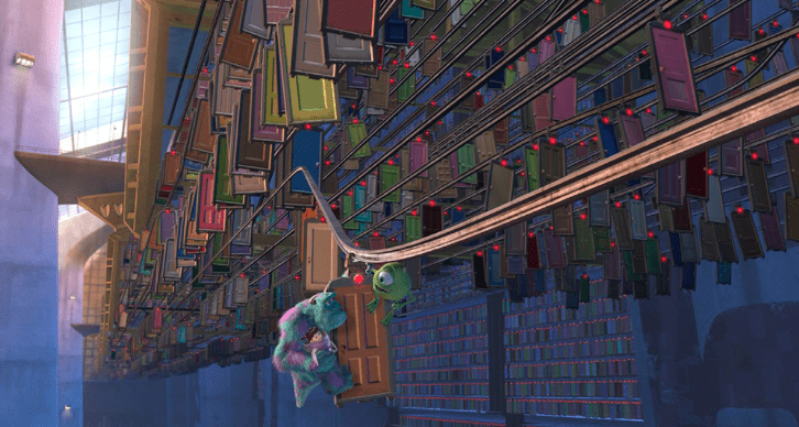 A scene from the movie Monsters Inc: Thousands of doors fly by as Boo, Sully, and Mike hang on to one door.