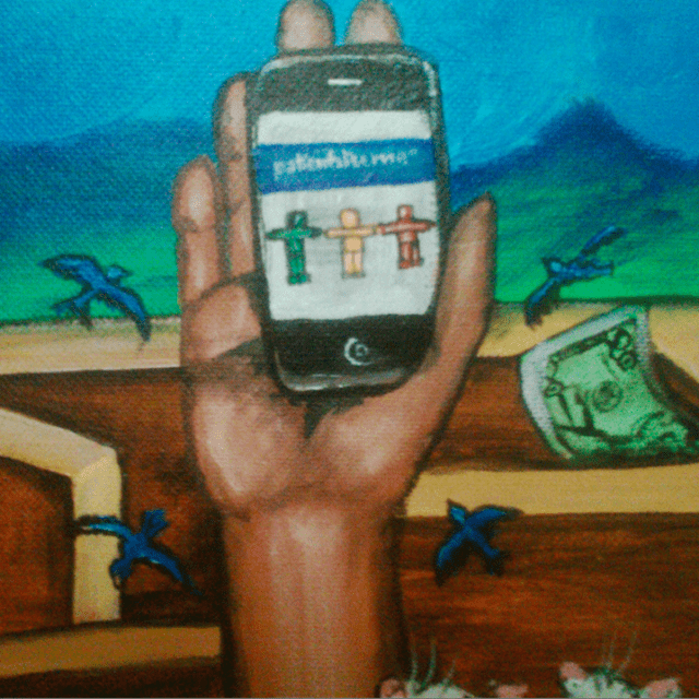 Detail of a painting by Regina Holliday shows a hand holding a smartphone with the PatientsLikeMe symbol