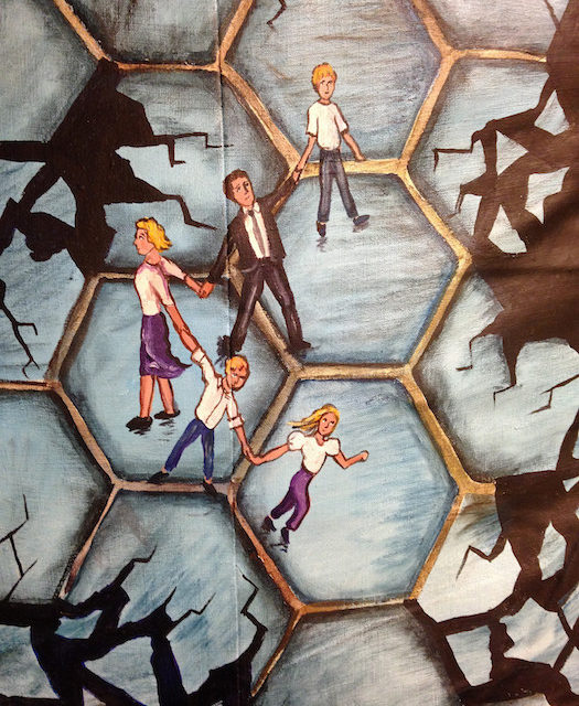 Painting of people climbing cell structures