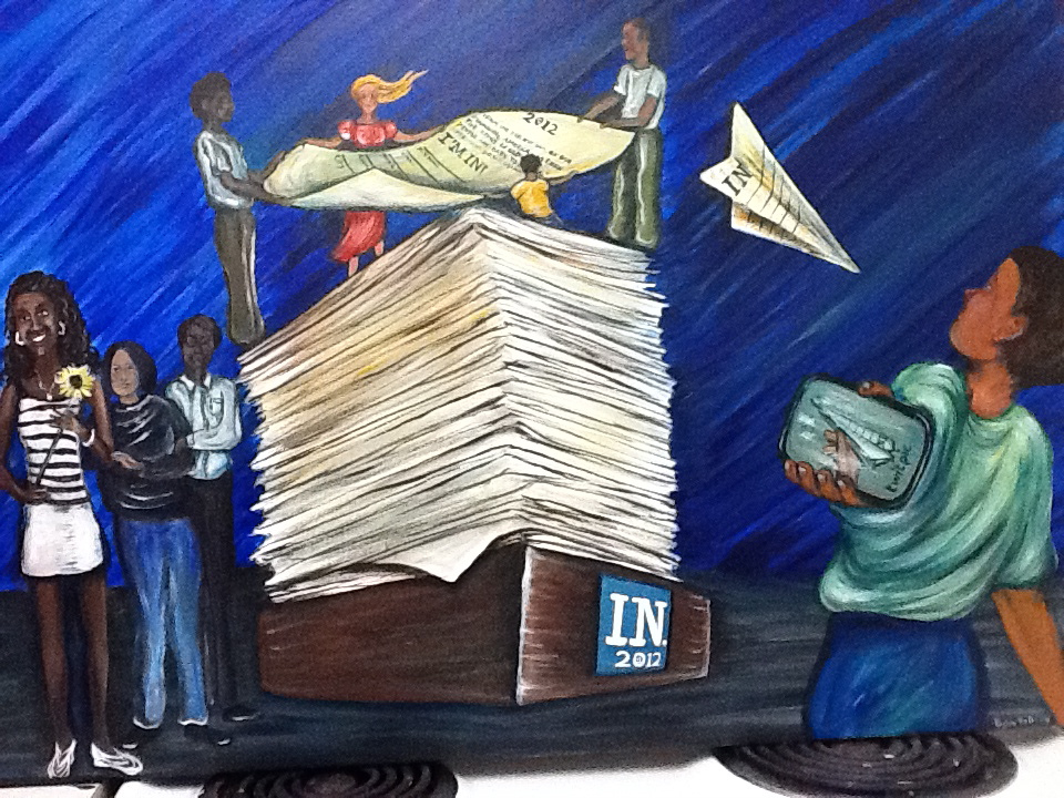 Painting of an inbox stacked with paper with tiny people helping to lift one page