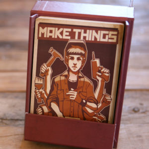 Make Things, above a drawing of a woman holding tools