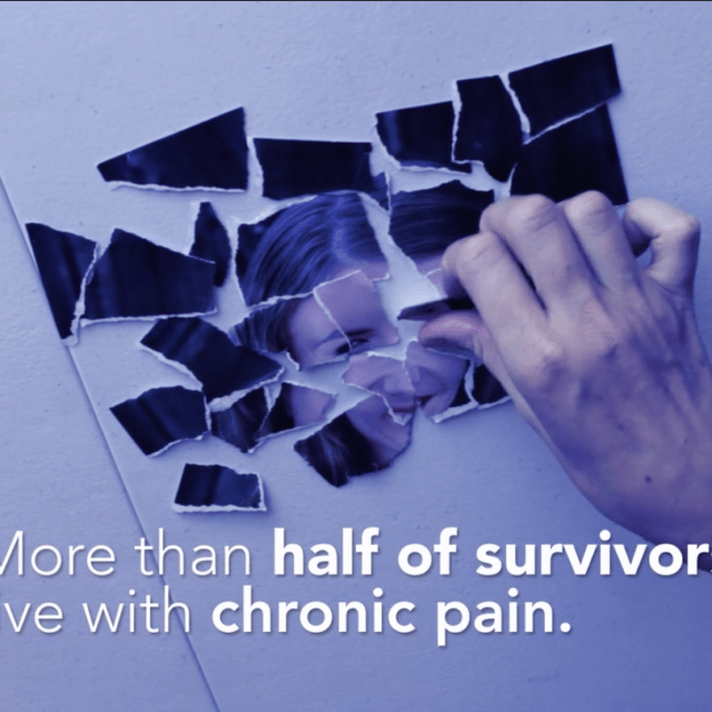 A hand pieces together a ripped-up photo of a woman. Text reads: More than half of survivors live with chronic pain.