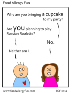 "Cartoon: Girl asks, ""Why are you bring a cupcake to my party?"" Boy replies, ""Are you planning to play Russian roulette?"" Girl: ""No"" Boy: ""Neither am I"""
