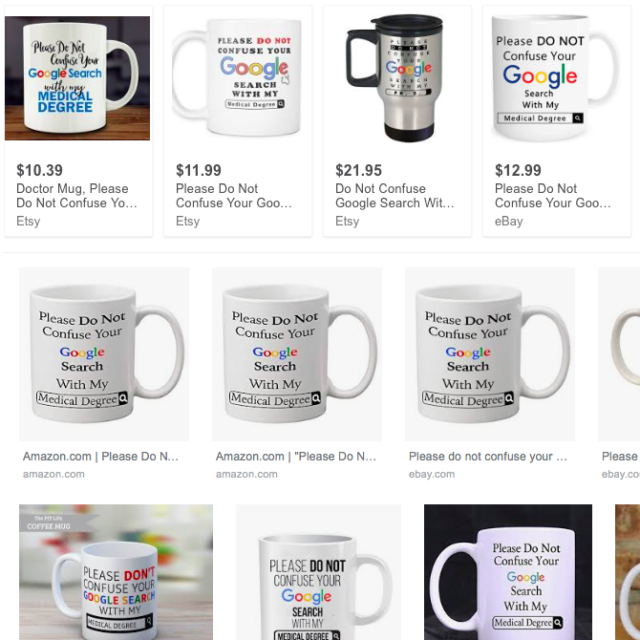 Google medical degree mugs