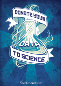 "Illustration of a beaker with a ribbon that reads ""Donate your data to science"" wrapped around it"