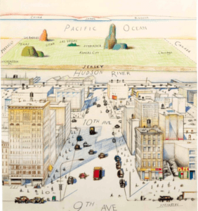 View of the World from 9th Avenue by Saul Steinberg shows great detail of Manhattan, then vague references to New Jersey, the Western U.S., and the Pacific Ocean