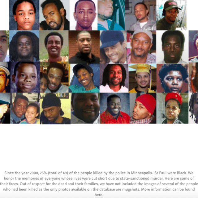 Pictures of black men, women, and children who were killed by police in Minneapolis since the year 2000.